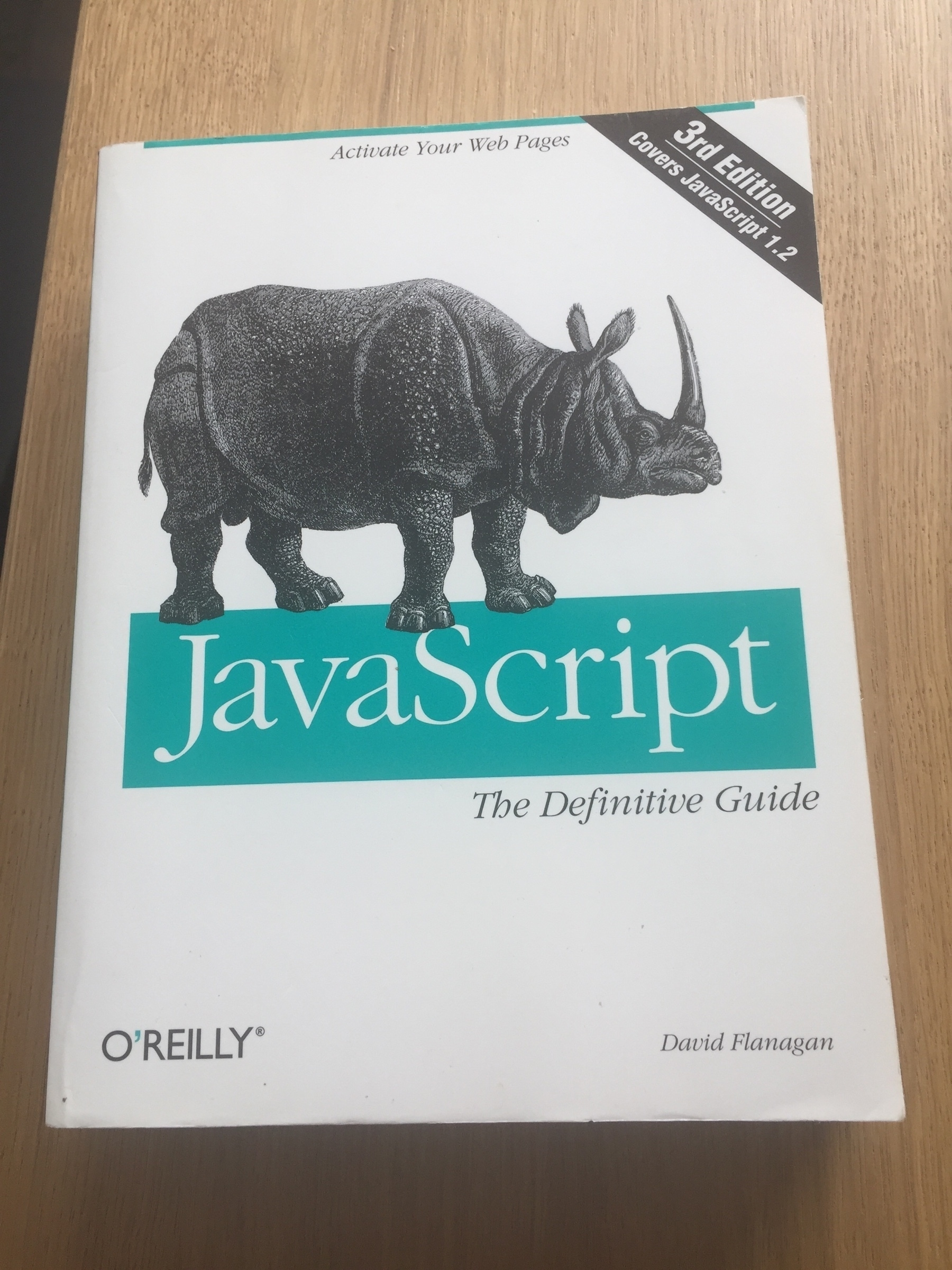 A book. The third edition of Javascript: the definitive guide